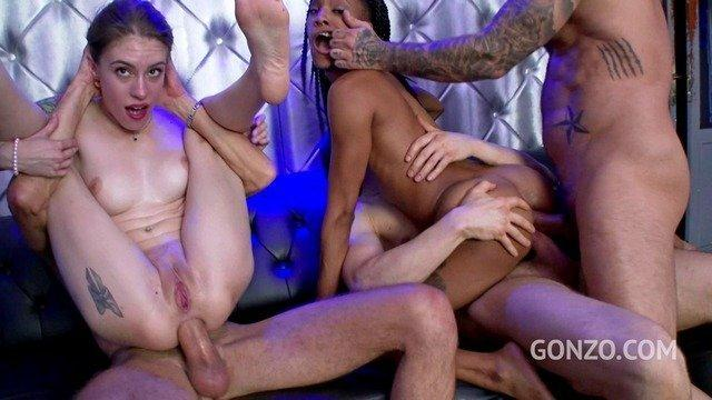 blonde and ebony bitches sucked and fucked