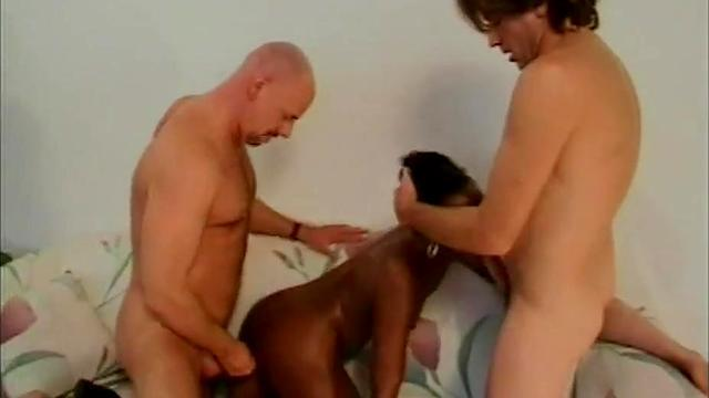 Black haired woman loving young dick