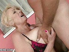 blonde woman licks big dick