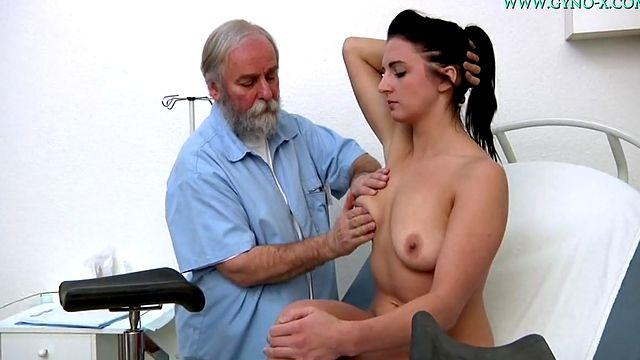 old gynecologist inspects a young bitch and fingering pussy